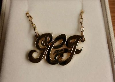 gold initials pendant